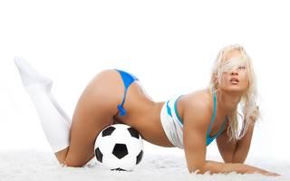 Half-naked sportswoman.